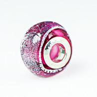 Pink Dichroic Murano Glass Charm Bead