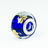 Blue Klimt Gold & Silver Foil Murano Glass Charm Bead