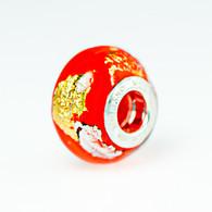 Orange Klimt Gold & Silver Foil Murano Glass Charm Bead