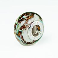 Mint Swirl Gold Foil Murano Glass Charm Bead