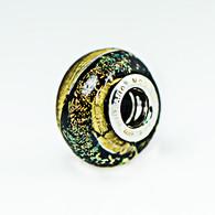 Rainbow Shimmer Gold Foil Black Dicrhoic Murano Glass Charm Bead