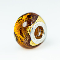Topaz Exterior Gold Foil Murano Glass Charm Bead