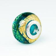 Aqua Exterior Gold Foil Murano Glass Charm Bead
