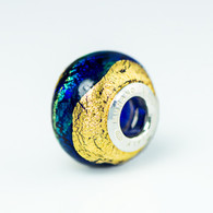 Cobalt Exterior Gold Foil Murano Glass Charm Bead