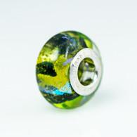 Fern Green Sparkles Fantasy Murano Glass Charm Bead