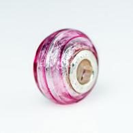 Striped Rubino Silver Foil Murano Glass Charm Bead