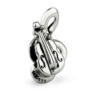 """Instrumental Love"" Violin Music Charm-Sterling Silver"