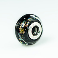 Rainbow Sparkle Black Dichroic Glass Charm Bead