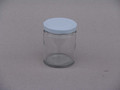 CLEAR GLASS JAR 190ml 63mm WHITE TWIST LID