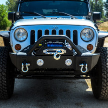 DV8 Offroad FBSHTB-13 FS-13 Hammer Forged Stubby Front Bumper with Light Provisions for Jeep Wrangler JK 2007-2016