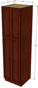 Brandywine Maple Pantry Cabinet Unit 24 Inch Wide x 90 Inch High
