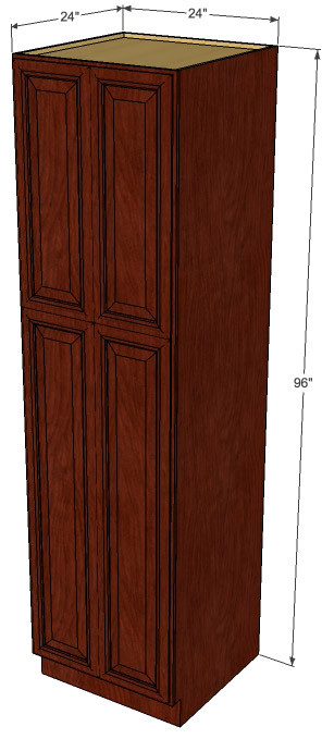 Brandywine Maple Pantry Cabinet Unit 24 Inch Wide X 96 Inch High Kitchen Cabinet