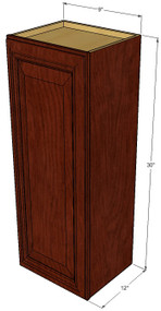 Small Single Door Brandywine Maple Wall Cabinet - 9 Inch Wide x 30 Inch High