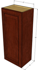 Small Single Door Brandywine Maple Wall Cabinet - 12 Inch Wide x 30 Inch High