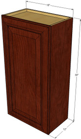 Small Single Door Brandywine Maple Wall Cabinet - 18 Inch Wide x 30 Inch High