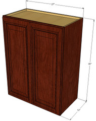 Large Double Door Brandywine Maple Wall Cabinet - 27 Inch Wide x 30 Inch High
