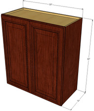 Large Double Door Brandywine Maple Wall Cabinet - 33 Inch Wide x 30 Inch High