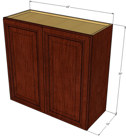 Large Double Door Brandywine Maple Wall Cabinet 42 Inch