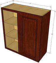 Single Door Straight Corner Brandywine Maple Blind Wall Cabinet - 27 Inch Wide x 30 Inch High