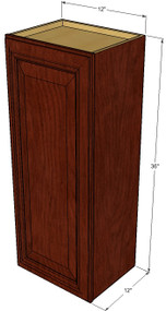 Small Single Door Brandywine Maple Wall Cabinet - 12 Inch Wide x 36 Inch High