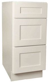 Arcadia Linen Shaker 3 Drawer Base Cabinet 15 Inch