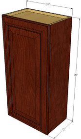 Small Single Door Brandywine Maple Wall Cabinet - 21 Inch Wide x 36 Inch High