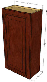 Small Single Door Brandywine Maple Wall Cabinet - 15 Inch Wide x 42 Inch High