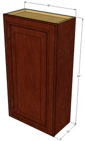 Small Single Door Brandywine Maple Wall Cabinet - 18 Inch Wide x 42 Inch High