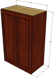 Large Double Door Brandywine Maple Wall Cabinet - 24 Inch Wide x 42 Inch High