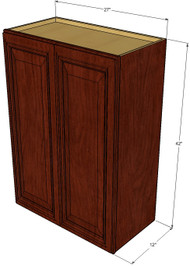 Large Double Door Brandywine Maple Wall Cabinet - 27 Inch Wide x 42 Inch High