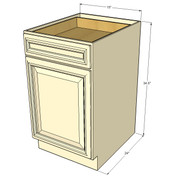 Nantucket Linen White Small Base Cabinet with 15 Inch Door & Drawer