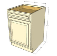 Nantucket Linen White Small Base Cabinet with 18 Inch Door & Drawer