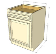 Nantucket Linen White Small Base Cabinet with 21 Inch Door & Drawer