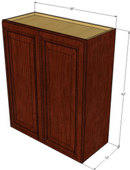 Large Double Door Brandywine Maple Wall Cabinet - 30 Inch Wide x 42 Inch High