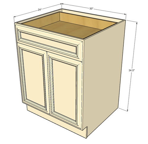 Nantucket Linen White Medium Base Cabinet with Double ...