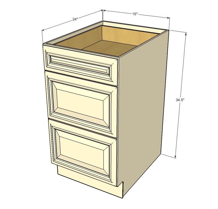 Nantucket Linen White 3 Drawer Base Cabinet 15 Inch Kitchen
