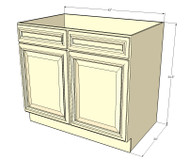 Nantucket Linen White Sink Base Unit with 2 False Drawers 42 Inch