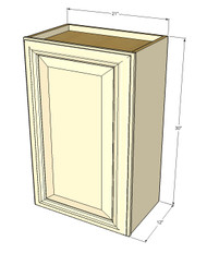 Small Single Door Nantucket Linen White Wall Cabinet - 21 Inch Wide x 30 Inch High