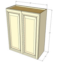 Large Double Door Nantucket Linen White Wall Cabinet - 24 Inch Wide x 30 Inch High