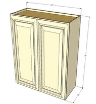 Large Double Door Nantucket Linen White Wall Cabinet - 27 Inch Wide x 30 Inch High