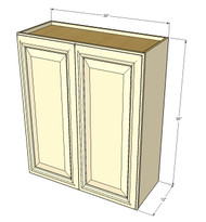 Large Double Door Nantucket Linen White Wall Cabinet - 30 Inch Wide x 30 Inch High