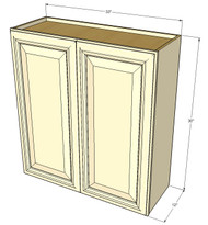 Large Double Door Nantucket Linen White Wall Cabinet - 33 Inch Wide x 30 Inch High
