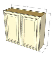 Large Double Door Nantucket Linen White Wall Cabinet - 42 Inch Wide x 30 Inch High