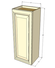 Small Single Door Nantucket Linen White Wall Cabinet - 9 Inch Wide x 36 Inch High