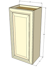 Small Single Door Nantucket Linen White Wall Cabinet - 15 Inch Wide x 36 Inch High