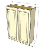 Large Double Door Nantucket Linen White Wall Cabinet - 24 Inch Wide x 36 Inch High