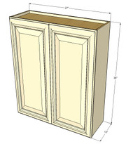 Large Double Door Nantucket Linen White Wall Cabinet - 27 Inch Wide x 36 Inch High