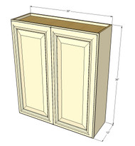 Large Double Door Nantucket Linen White Wall Cabinet - 30 Inch Wide x 36 Inch High
