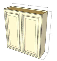 Large Double Door Nantucket Linen White Wall Cabinet - 33 Inch Wide x 36 Inch High