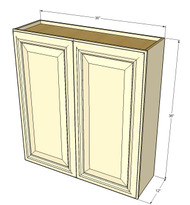 Large Double Door Nantucket Linen White Wall Cabinet - 36 Inch Wide x 36 Inch High
